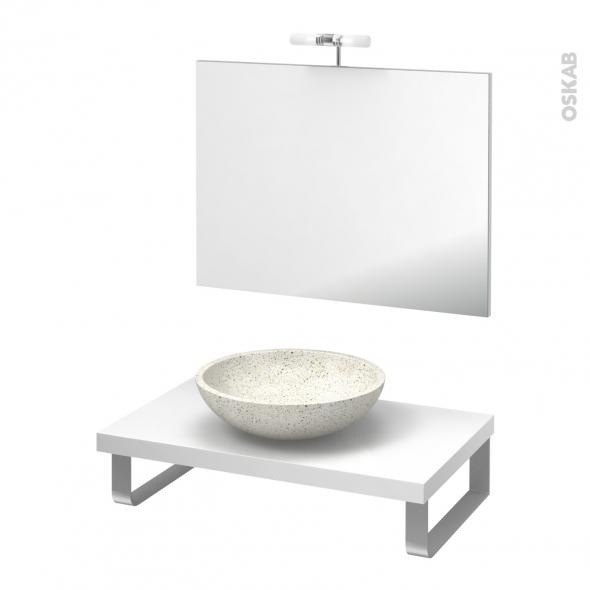 Pack salle de bains PMR - Vasque à poser Ricia blanc - Plan de toilette Blanc - Miroir et éclairage - L80 x P50