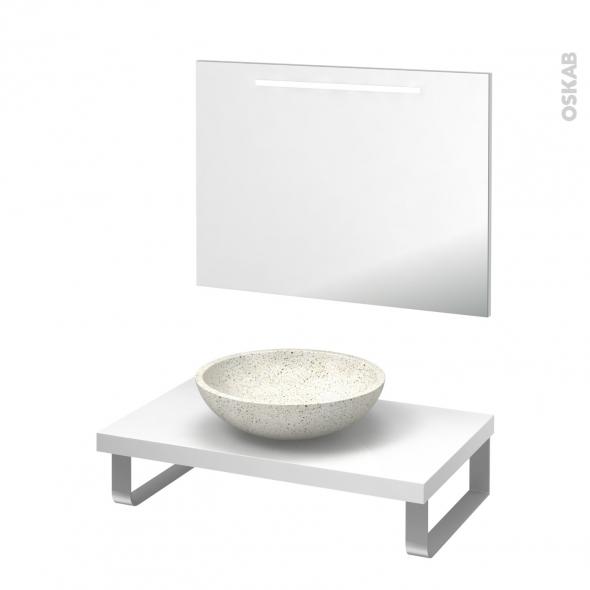 Pack salle de bains PMR - Vasque à poser RICIA Blanc - Plan de toilette Blanc - Miroir lumineux - L80 x P50 cm