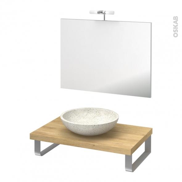 Pack salle de bains PMR - Vasque à poser RICIA Blanc - Plan de toilette Hosta - Miroir et éclairage - L80 x P50 cm