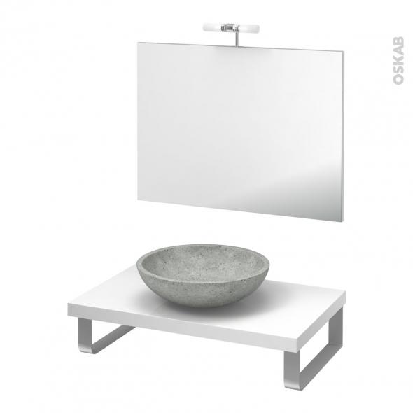 Pack salle de bains PMR - Vasque à poser RICIA Gris - Plan de toilette Blanc - Miroir et éclairage - L80 x P50 cm