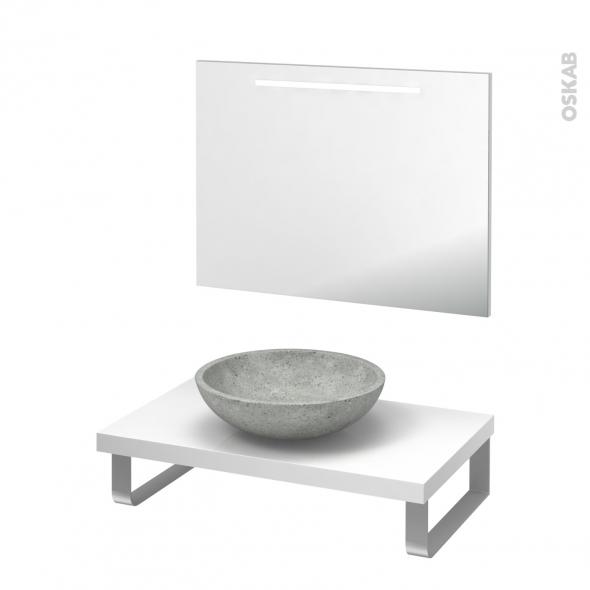 Pack salle de bains PMR - Vasque à poser Ricia gris - Plan de toilette Blanc - Miroir rétroéclairé - L80 x P50
