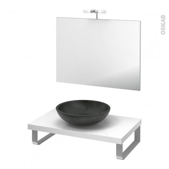 Pack salle de bains PMR - Vasque à poser Ricia noir - Plan de toilette Blanc - Miroir et éclairage - L80 x P50