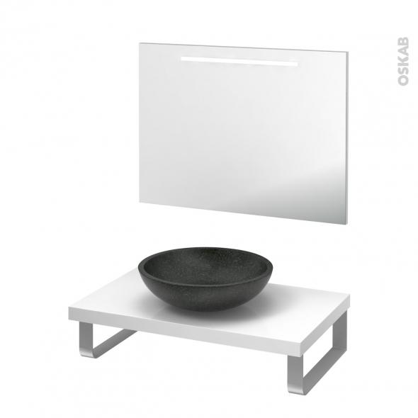 Pack salle de bains PMR - Vasque à poser Ricia noir - Plan de toilette Blanc - Miroir rétroéclairé - L80 x P50