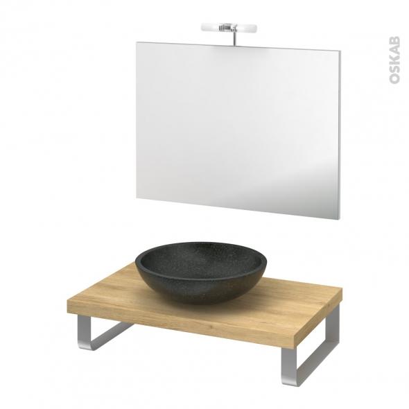Pack salle de bains PMR - Vasque à poser RICIA Noir - Plan de toilette Hosta - Miroir et éclairage - L80 x P50 cm