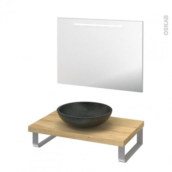 Pack salle de bains PMR - Vasque à poser RICIA Noir - Plan de toilette Hosta - Miroir lumineux - L80 x P50 cm
