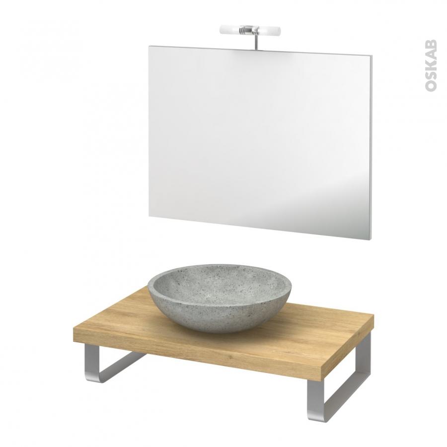 Pack salle de bains pmr vasque poser ricia gris plan de for Ensemble sdb