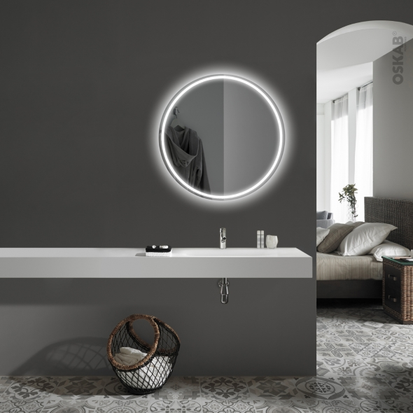 Miroir de salle de bains - Lumineux ORA - Diamètre 75 cm