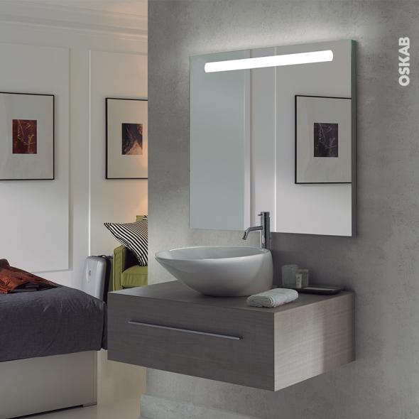 Miroir de salle de bains - Lumineux - KIO - L80 x H70 cm