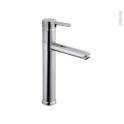 Robinet de salle de bains - HOTU - Mitigeur lavabo - Bec haut sans tirette - Chromé