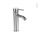 Robinet de salle de bains - PANGA - Mitigeur lavabo - Bec haut sans tirette - Chromé