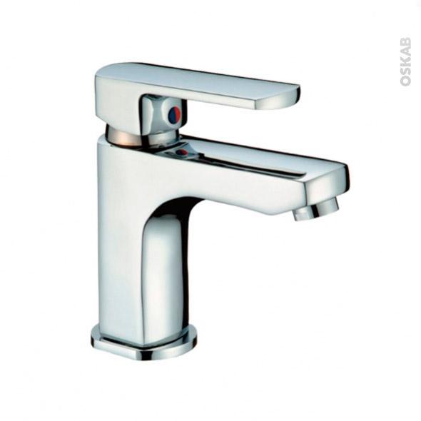 Robinet de salle de bains - MAKO - Mitigeur lavabo - Bec bas à tirette - Chromé