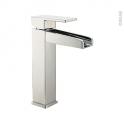 Robinet de salle de bains - GALI - Mitigeur lavabo - Bec haut sans tirette - Chromé