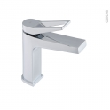 Robinet de salle de bains - SANDRE - Mitigeur lavabo - Bec bas à tirette - Chromé