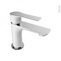 Robinet de salle de bains - SERIO - Mitigeur lavabo - Bec bas à tirette - Blanc et chromé