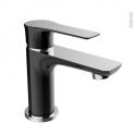 Robinet de salle de bains - SERIO - Mitigeur lavabo - Bec bas à tirette - Noir et chromé