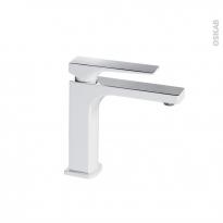 Robinet UMOS - Mitigeur lavabo salle de bains - Bec bas à tirette - Blanc et Chromé