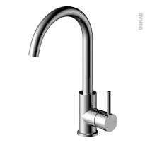 Robinet de salle de bains - COURB - Mitigeur lavabo - Bec haut sans tirette - Chromé