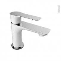Robinet SERIO - Mitigeur lavabo salle de bains - Bec bas à tirette - Blanc et chromé