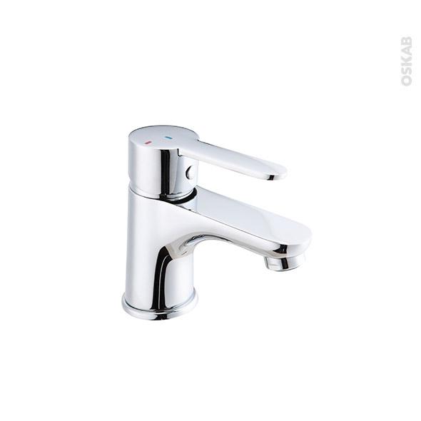 Robinet ELBO - Mitigeur lavabo salle de bains - Bec bas à tirette - Chromé