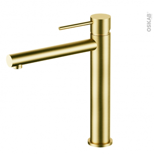 Robinet de salle de bains - EGLE - Mitigeur lavabo - Bec haut sans tirette - Laiton