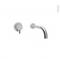 Robinet de salle de bains - LUNA - Mitigeur lavabo - Mural encastré - Chromé