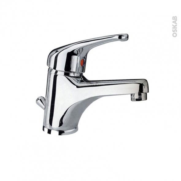 Robinet YU - Mitigeur lavabo salle de bains - Bec bas à tirette - Chromé