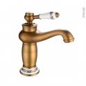 Robinet de salle de bains - MARPLE - Mitigeur lavabo - Bec bas sans tirette - Laiton