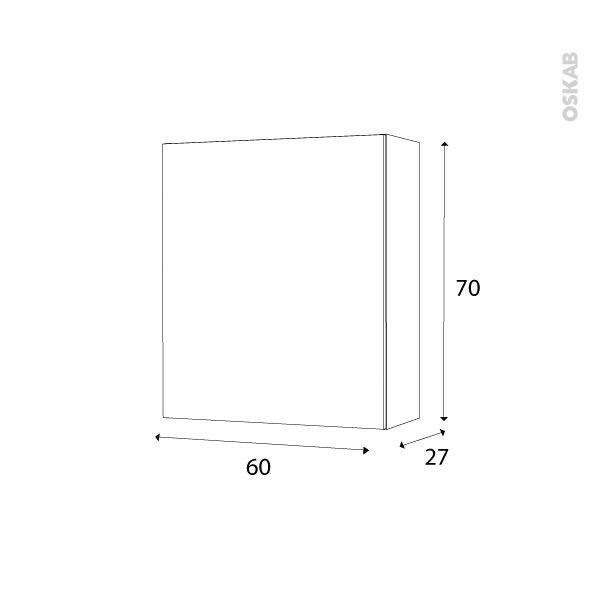 armoire de salle de bains rangement haut ikoro ch ne clair 1 porte c t s d cors l60 x h70 x p27. Black Bedroom Furniture Sets. Home Design Ideas