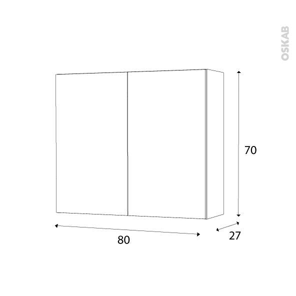 armoire de salle de bains rangement haut keria ivoire 2 portes c t s blancs l80 x h70 x p27 cm. Black Bedroom Furniture Sets. Home Design Ideas