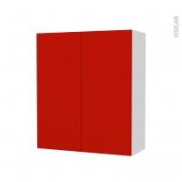 GINKO Rouge - Armoire de rangement N°691 - côté blanc - 2 portes - L60xH70xP27