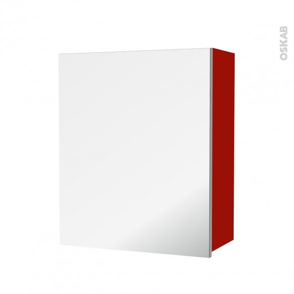 GINKO Rouge - Armoire de rangement N°1152 - Côté décor - 1 porte miroir - L60xH70xP27