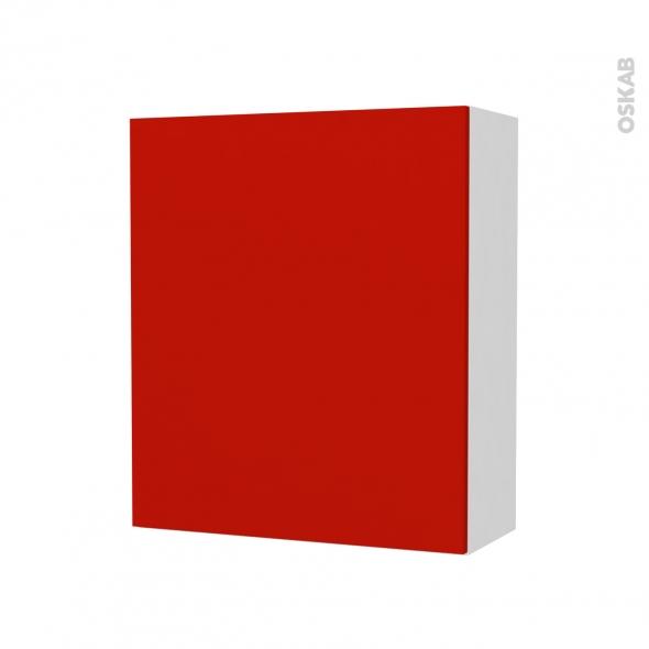 GINKO Rouge - Armoire de rangement N°211 - côté blanc - 1 porte - L60xH70xP27