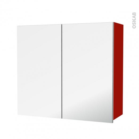 GINKO Rouge - Armoire de rangement N°682 - Côté décor - 2 portes miroir - L80xH70xP27