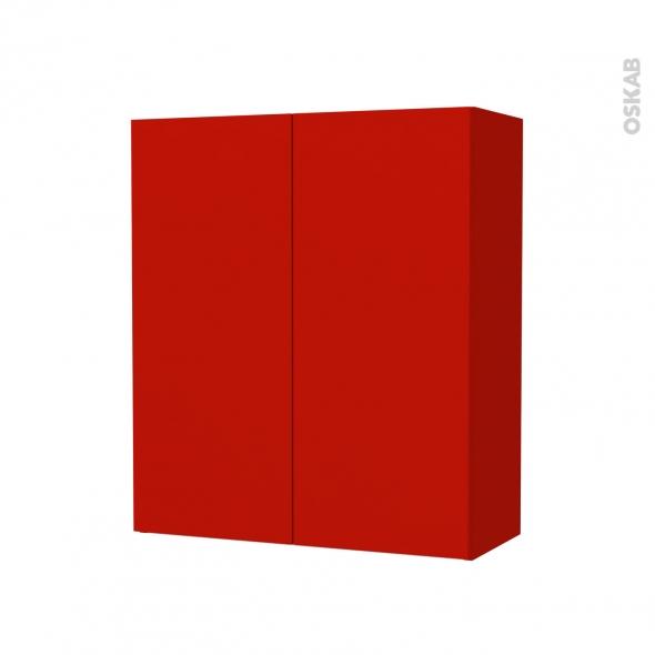 GINKO Rouge - Armoire de rangement N°692 - Côté décor - 2 portes - L60xH70xP27