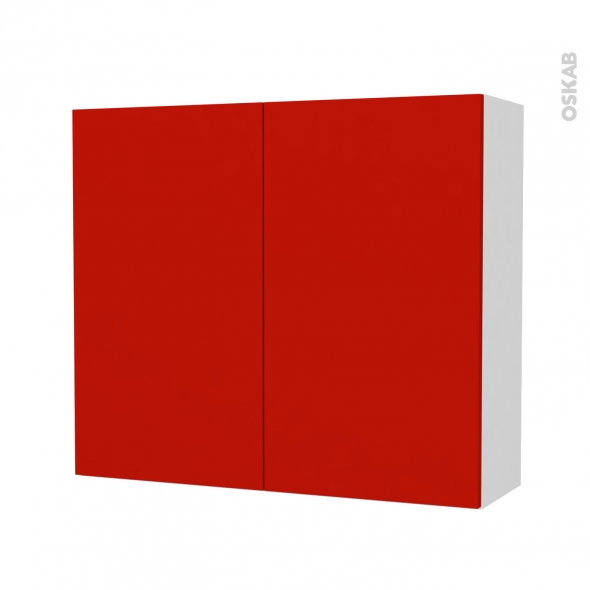GINKO Rouge - Armoire de rangement N°701 - côté blanc - 2 portes - L80xH70xP27
