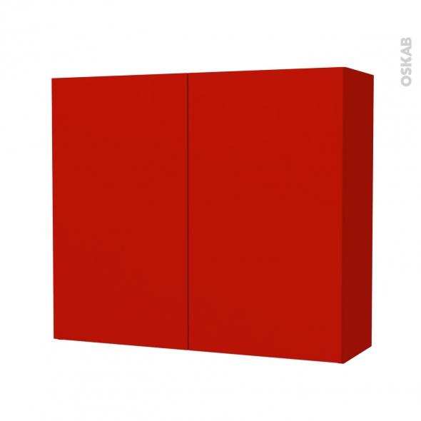 GINKO Rouge - Armoire de rangement N°702 - Côté décor - 2 portes - L80xH70xP27