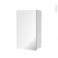 Armoire de salle de bains - Rangement haut - 1 porte miroir - Côtés blancs - L40 x H70 x P27 cm - HAKEO
