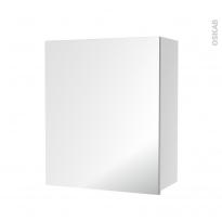 Armoire de salle de bains - Rangement haut - 1 porte miroir - Côtés blancs - L60 x H70 x P27 cm - HAKEO