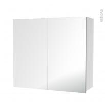 Armoire de salle de bains - Rangement haut - 2 portes miroir - Côtés blancs - L80 x H70 x P27 cm - HAKEO