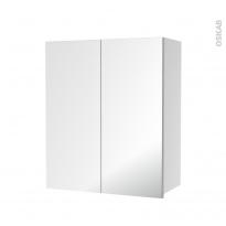 HAKEO - Armoire de rangement N°741 - 2 portes miroir - L60xH70xP27