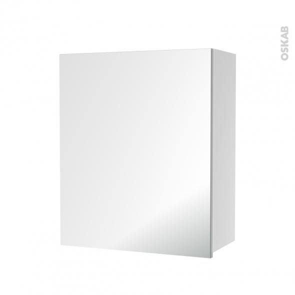 armoire de salle de bains rangement haut 1 porte miroir c t s blancs l60 x h70 x p27 cm hakeo. Black Bedroom Furniture Sets. Home Design Ideas