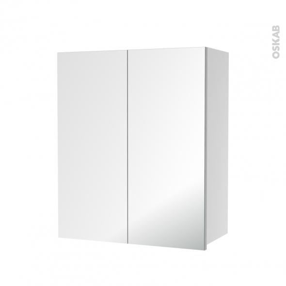 Armoire de salle de bains - Rangement haut - 2 portes miroir - Côtés blancs - L60 x H70 x P27 cm - HAKEO