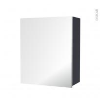 IRIS Bleu Gris - Armoire de rangement N°1152 - Côté décor - 1 porte miroir - L60xH70xP27