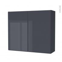 IRIS Bleu Gris - Armoire de rangement N°702 - Côté décor - 2 portes - L80xH70xP27