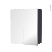 IRIS Bleu Gris - Armoire de rangement N°742 - Côté décor - 2 portes miroir - L60xH70xP27