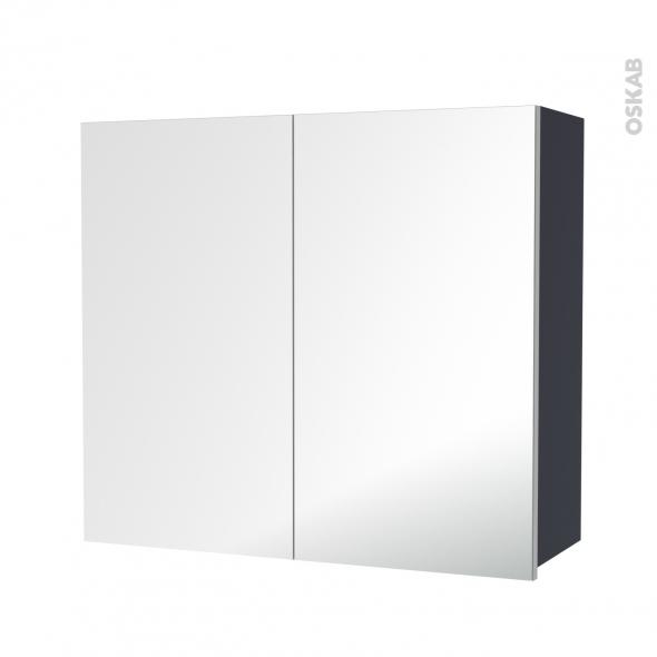 IRIS Bleu Gris - Armoire de rangement N°682 - Côté décor - 2 portes miroir - L80xH70xP27