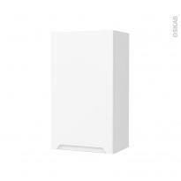 Armoire de salle de bains - Rangement haut - PIMA Blanc - 1 porte - Côtés blancs - L40 x H70 x P27 cm