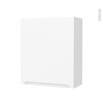 Armoire de salle de bains - Rangement haut - PIMA Blanc - 1 porte - Côtés décors - L60 x H70 x P27 cm