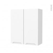 Armoire de salle de bains - Rangement haut - PIMA Blanc - 2 portes - Côtés blancs - L60 x H70 x P27 cm