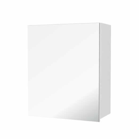 Armoire de salle de bains - Rangement haut - PIMA Blanc - 1 porte miroir - Côtés décors - L60 x H70 x P27 cm